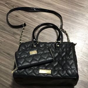 Betsey Johnson Large Quilted Heart Purse Set